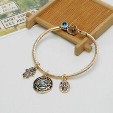 Hamsa Charm Bangle Bracelet Gold Blue Protect Hand Evil Eye Good Luck Jewelry