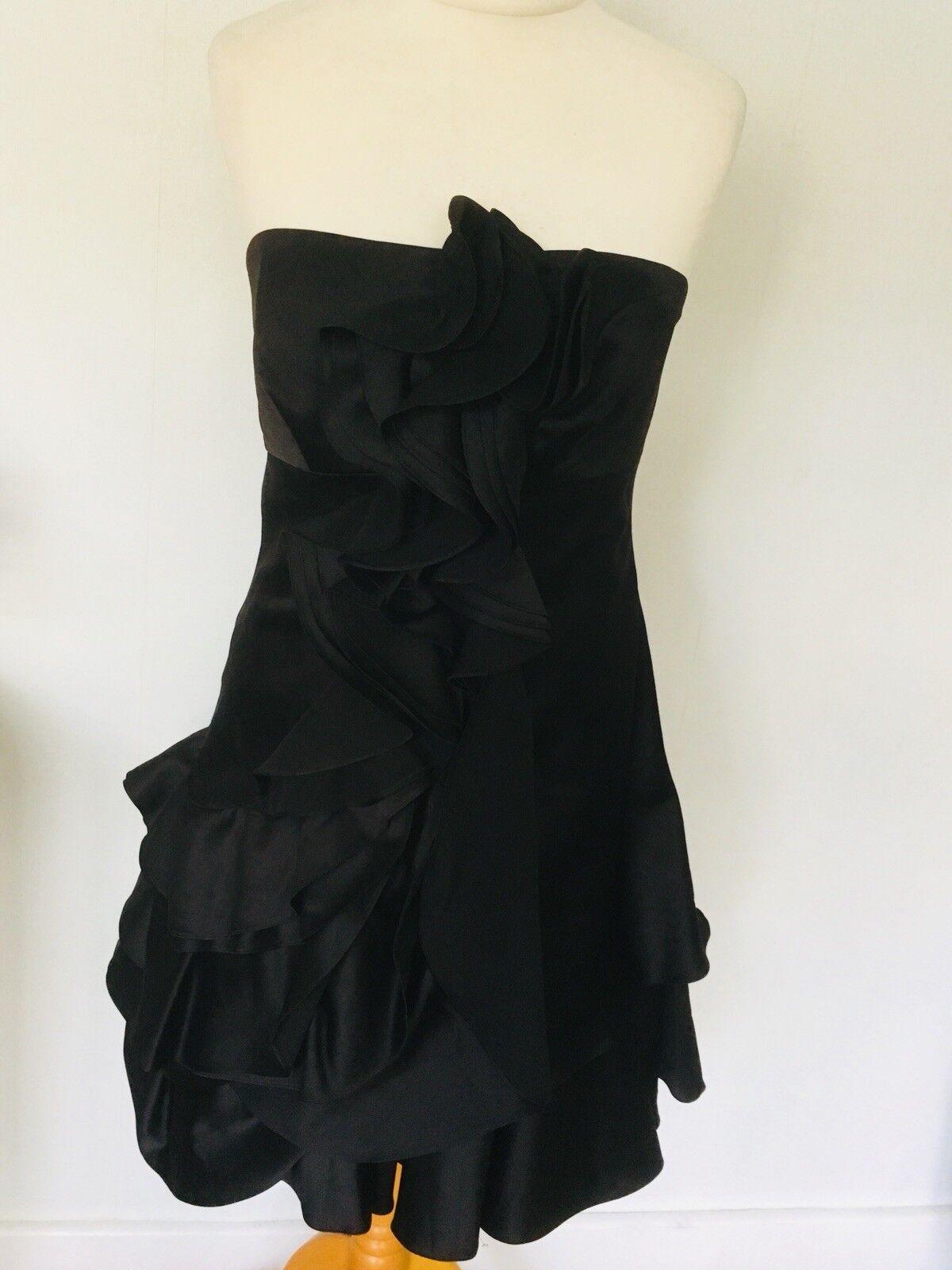 Karen Millen schwarz Corset Ruffle Prom Evening Occasion Dress Größe 14 3A