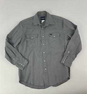 WRANGLER-Retro-Gray-Denim-Mens-Western-Cowboy-Pearl-Snap-L-S-Shirt-Size-Large