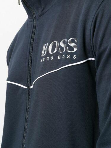 New Hugo Boss mens designer blue sport gym tracksuit lounge coat jacket top £149