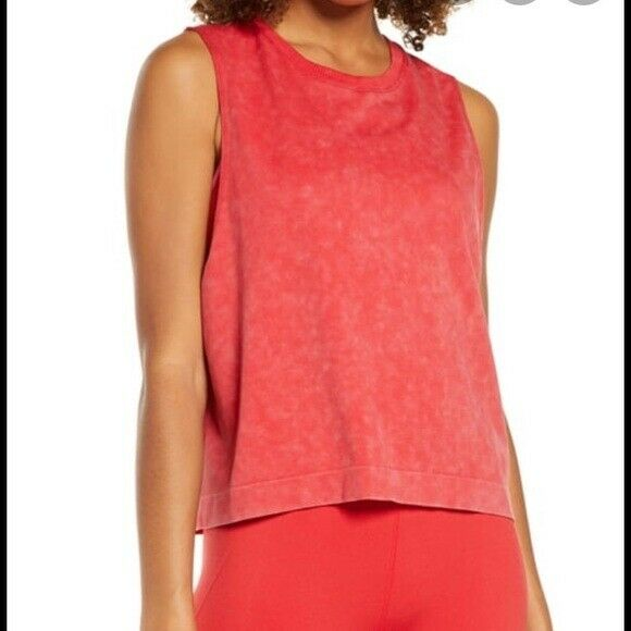 Soulcycle women's red skull back drop arm stretchy active gym tank top size: XS