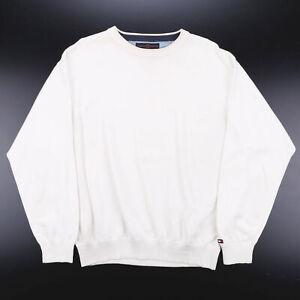 Vintage Tommy Hilfiger weiß Classic Rundhalsausschnitt Baumwolle Uni Pullover Herren L