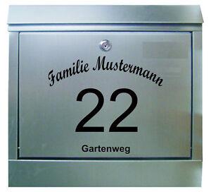 briefkasten aufkleber familienname strasse hausnummer. Black Bedroom Furniture Sets. Home Design Ideas