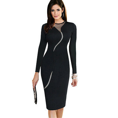 Ladies Sexy Mesh Back Zipper Wear to Work Party Business Bodycon Dresses EB268