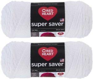 Red-Heart-Super-Saver-Yarn-2-Pack-White-7-oz-each-skein