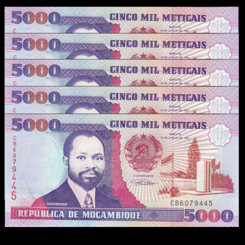 Lot 5 PCS Mozambique 5000 5,000 Meticais P-136 1991 UNC