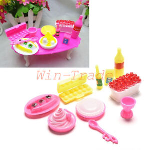 10Pcs-Kitchen-Food-Cake-Dinner-Tableware-Furniture-Barbie-Doll-House-Accessories