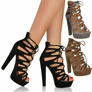 New Womens Ladies High Heel Platform Gladiator Sandals Lace Up ...