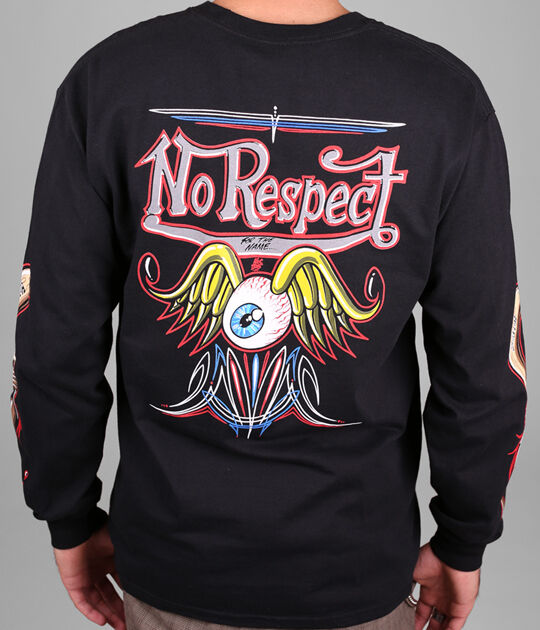 NO RESPECT VON DUTCH PIN STRIPPING MOONEYES MOON EQUIPPED LONG SLEEVE S L XL 2XL