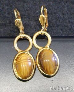 Image Is Loading 1950 Period Vintage Tiger Eye Scarab Gold Filled