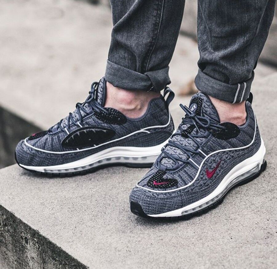 Nike Nike Nike Air Max 98 QS Size 9.5 UK Thunder Blue Genuine Authentic Mens Trainers 23474a