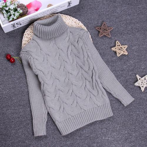 Infant Kids Boy Girl Turtleneck Sweaters Warm Knit Tops Pullover Outwear Outdoor