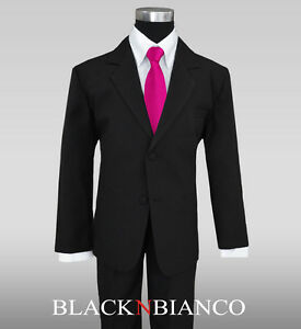0649d41a57 Formal Black Suit for Boys with a Pink Fuchsia Long Neck Tie Kids ...