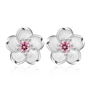 925-Silver-Crystal-Cherry-Blossoms-Flower-Ear-Stud-Earrings-For-Women-Girl-039-s