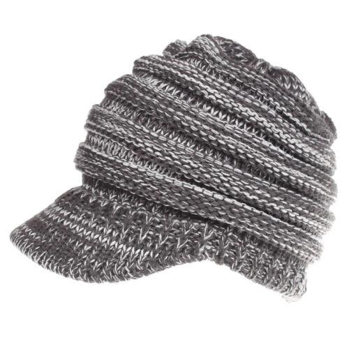 Women Stretch Knit Hat Messy Bun Ponytail Beanie Winter Warm Knitted Hole Cap FA