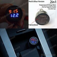 Digital Voltmeter Thermometer Voltage Temperature Meter F Car Auto Suv Cigarette