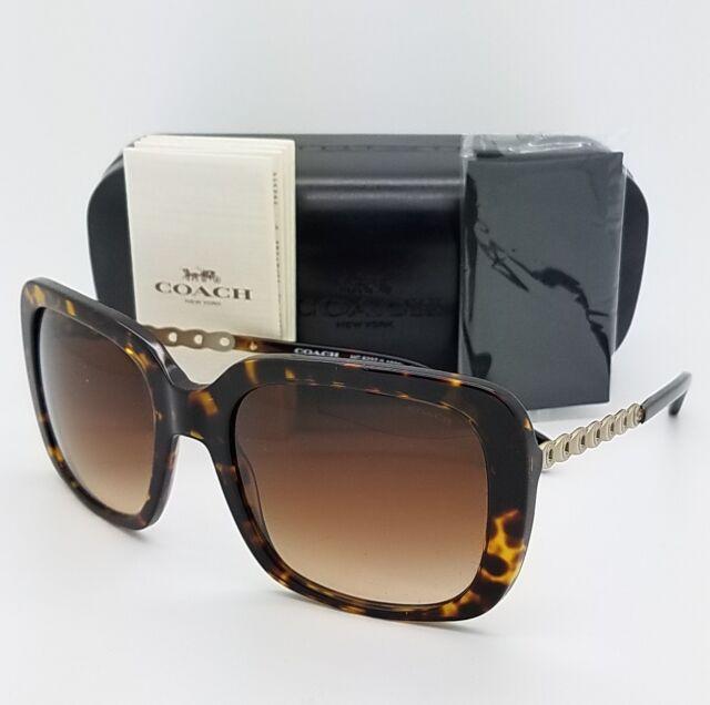 94e887918f38 New Coach sunglasses HC8237 548574 57 Dark Tortoise Brown Gradient Chain  8237