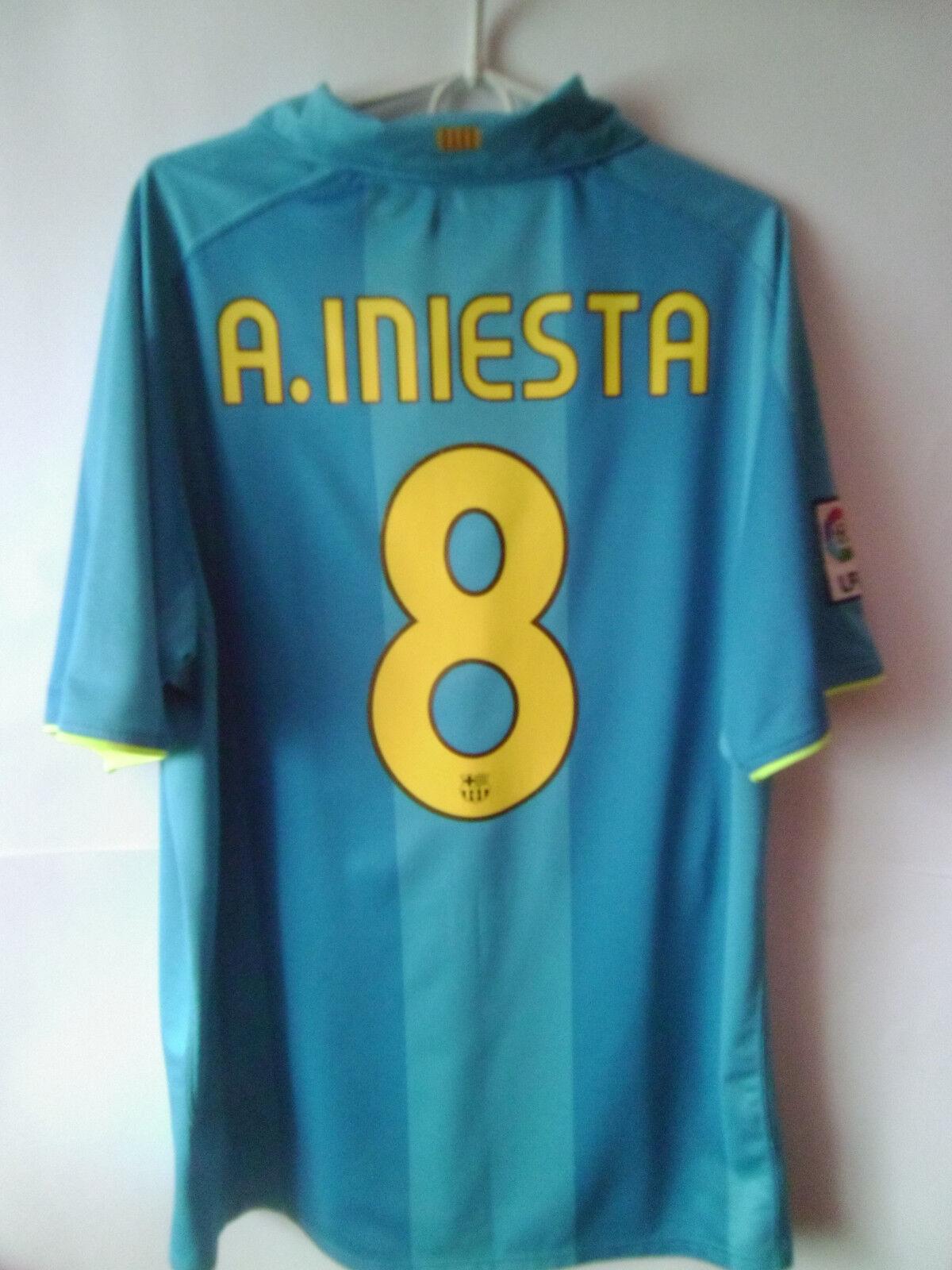 VERY RARE    A. INIESTA      2007-09 Barcelona Away Shirt Jersey Trikot XL
