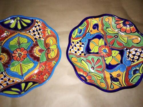 "4 Talavera Platter Dish 12 ""x 12""X 2""Floral Hand Paint Folk Art  Mix Or Match"
