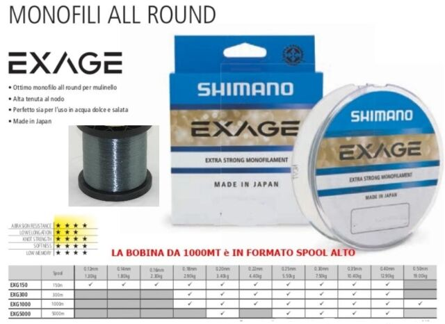 MONOFILO SHIMANO NYLON EXAGE DA MULINELLO  150mt diametro 0,25mm  STRONG JAPAN