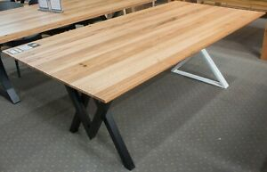 Anglesea Solid Blackbutt Timber Dining Table Metal X Shaped Legs Ebay