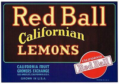 ORIGINAL 1930S LEMON CRATE LABEL RED BALL LOS ANGELES