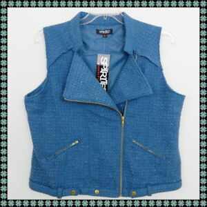 NEW-BLUE-SIDE-ZIP-VEST-w-ZIP-POCKETS-WOMENS-XL-SOFT-TWEED-WINTER-is-COMING