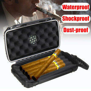 Waterproof-Shockproof-Travel-5-Cigar-Caddy-Case-Box-Humidor-Humidifier-Storage