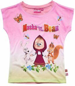 Girls Kids Official Masha And The Bear Yellow Pink Short Sleeve T Shirt Top