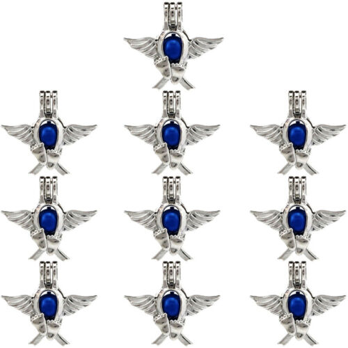 K697-10PCS Silver Wings Kids pied Perles Cage Pendentif-perle cage