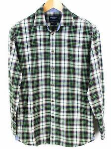 Hackett-London-Uomo-Camicia-100-039-s-2-Strati-Cotone-Quadri-Top-Stile-Casual