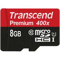 Transcend 8gb Micro Sd Sdhc Class 10 400x 60mb/s Memory Flash Card Ts8gusdu1
