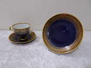DDR-Design-Lichte-Fine-China-Porzellan-Sammelgedeck-Vintage-Echt-Kobalt