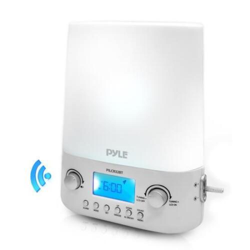 Pyle PILCR32BT Bluetooth Alarm Clock FM Sunrise /& Set Night Light w// Sounds