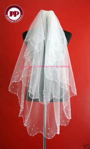 2-Tier-White-Pearl-Bridal-Veil-Waist-Length-Soft-Tulle-FREE-P-amp-P