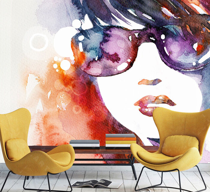3D Sunglasses girl painting Wall Paper Print Decal Wall Deco Indoor wall Mural