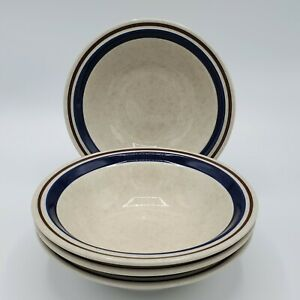 SET-OF-4-6-3-4-034-CEREAL-BOWLS-CHATEAU-STONEWARE-JAPAN-HAND-PAINTED-BROWN-BLUE