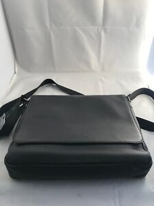 Cultured-London-Black-Leather-Messenger-Shoulder-Bag-Laptop-Bag-Rory-RRP-135