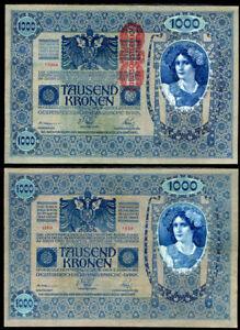AUSTRIA-1000-KRONEN-1902-1919-P-59-BIG-NOTE-AUNC-ABOUT-UNC