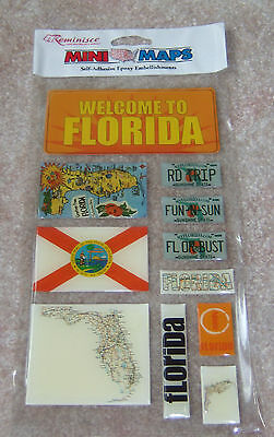 REMINISCE MINI MAP FLORIDA STATE TRAVEL EPOXY SELF ADHESIVE STICKERS A4321