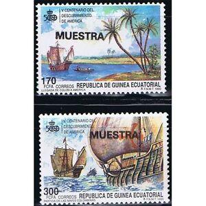 Briefmarken Afrika Äquatorial-guinea Edifil 129/130 Entdeckung Von Amerika Überlastung Der Probe