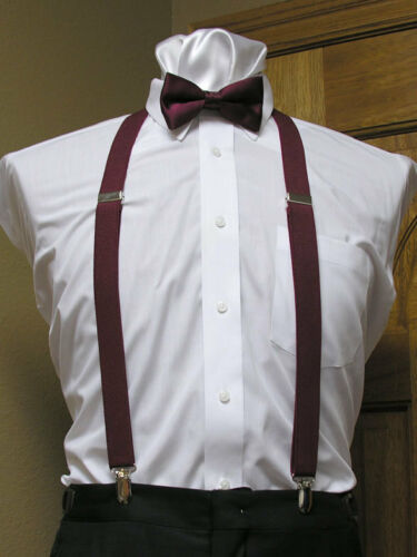 Matching bowtie and suspenders set Men/'s clip-on x back and Retro Costume longer