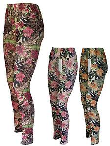 Leggings-Musterleggings-Leggins-Bluten-Animalprint-Gr-38-40-42-44-46-48