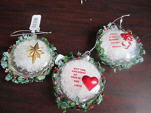 image is loading roman set of 3 glass snow religious christmas