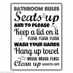 Image Is Loading Bathroom Rules Vintage Retro Metal Sign Wall Plaque