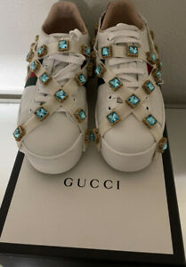 GUCCI-039-Ace-039-Bee-Platform-White-Green-Red-Web-Sneakers-Sz-38-US-8-5