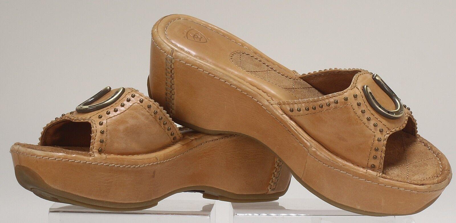 Ariat Women's Casey 21606 goldenrod Leather Sandal 9 M horse shoe pump slip on