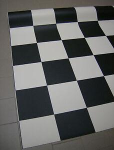 Details zu Fliesenspiegel PVC Belag Rest 100x380 Schachbrett Schwarz Weiss,  weitere im Shop