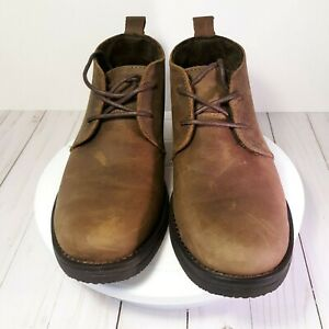 merona men's lace up brown casual chukka ankle boots size