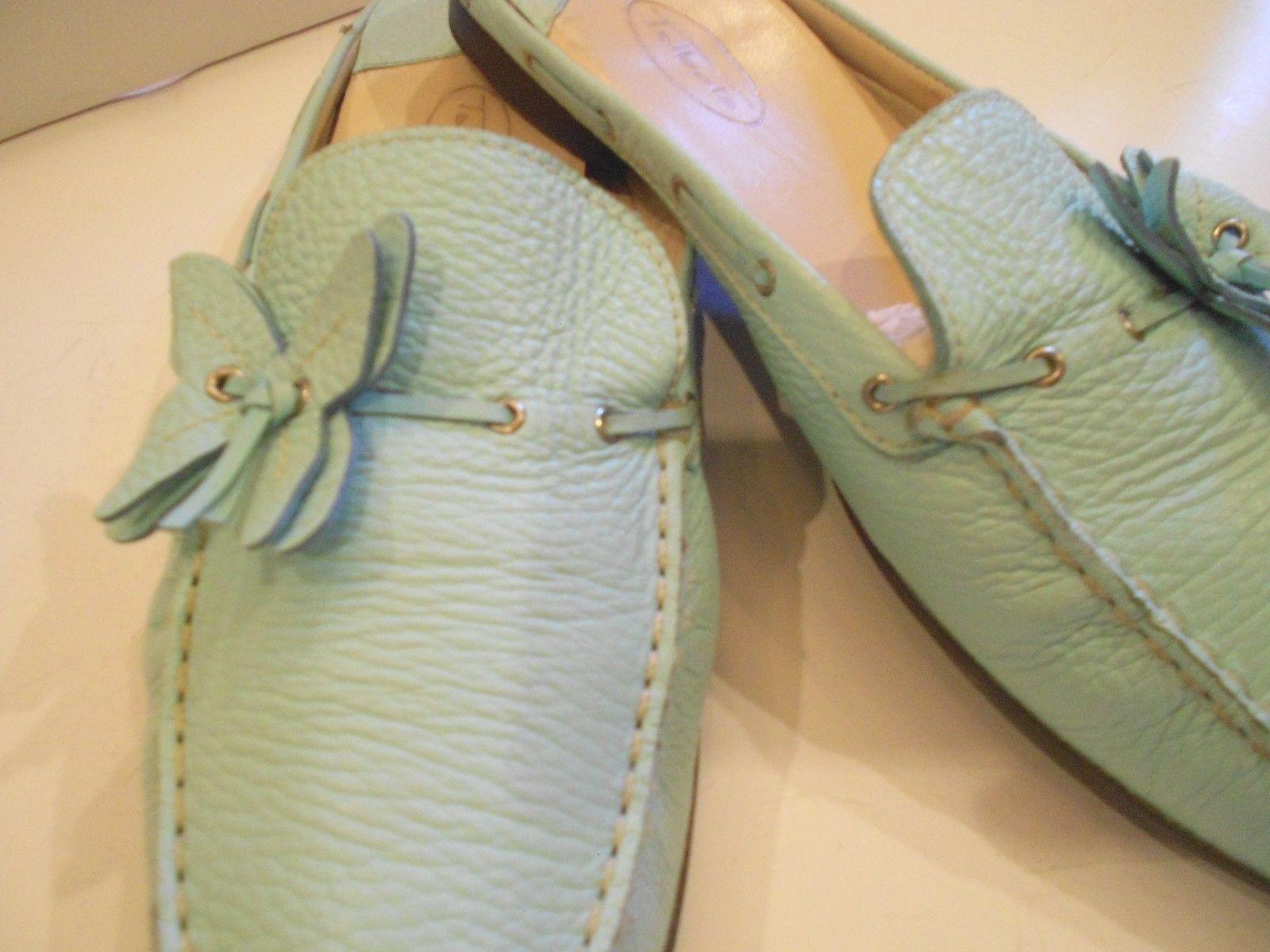 CUTE TALBOTS LEATHER SLIP ON FLATS BLUE/GREEN 11B MED RETAIL $120